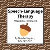 November Homework Packet for Speech-Language Therapy