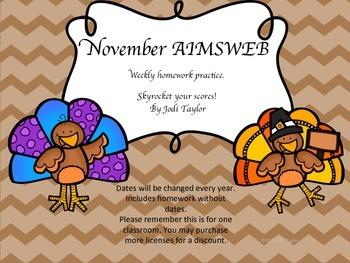 November Homework Practice for AIMSWEB