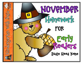 November Homework for Emergent Readers