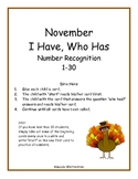 November I Have, Who Has: 1-30 Number Recognition