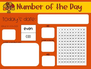 November Interactive Calendar Flipchart for 1st Grade
