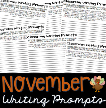 Writing Prompts NOVEMBER (Bell Ringer, Morning Work, Daily Writing)