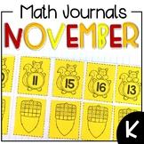 November Interactive Math Journal Kindergarten