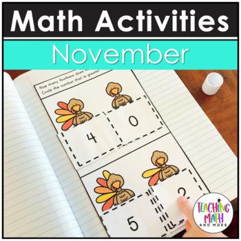 November Interactive Math Notebook Kindergarten