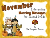 November Interactive Morning Messages for 2nd Grade Freebie