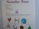 November Interactive Newsletter with Boardmaker Symbols fo