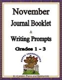 November Journal Booklet & Writing Prompts Grades 1-3