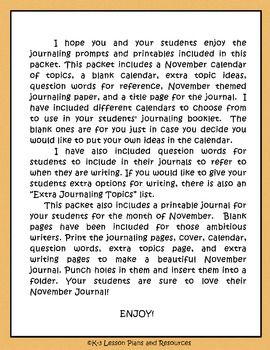 November Journal Booklet & Writing Prompts Grades 1-3