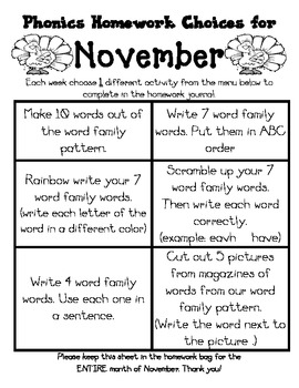 November Journal Cover, Newsletter, and Phonics Choices