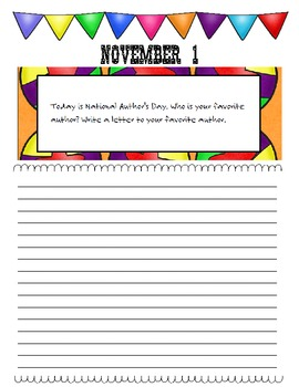 November Journal Prompts Printable Notebook Common Core W.1, W.2, W.3