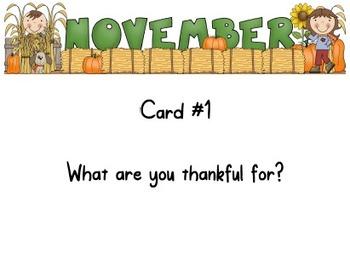 November Journal Writing Task Cards