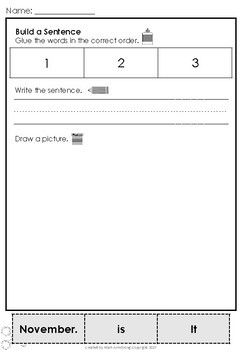 November Build a Sentence Journal for Young Writers