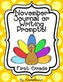November Journal or Writing Prompts for 1st Grade or Higher Kindergarten