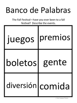 November Journal with prompts and word banks in SPANISH