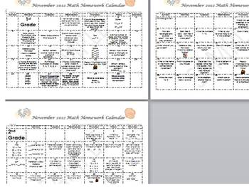 November K-2 Math Calendars