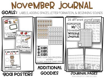 November Kindergarten Adding Spaces + Character Building Vocab Writing Journal