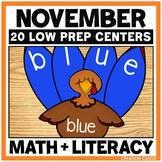 November Kindergarten Centers - Math and Literacy