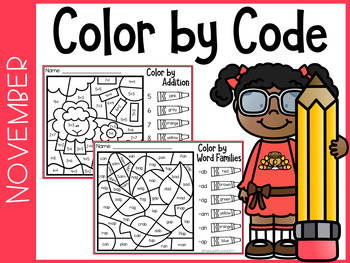 November Kindergarten Color By Code