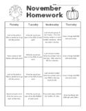 November Kindergarten Common Core Homework Packet