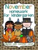 November Kindergarten Common Core Homework WEEK ONE