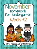 November Kindergarten Common Core Homework WEEK TWO