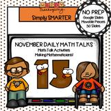 November Kindergarten Digital Daily Math Talks For GOOGLE SLIDES