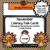 November Kindergarten Digital & Print Literacy Task Cards For GOOGLE CLASSROOM