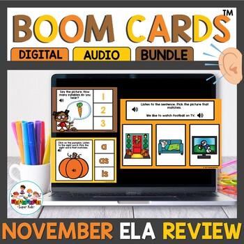 November Kindergarten ELA Boom Cards