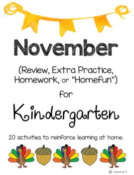 November Kindergarten Extra Practice, Homework, Homefun