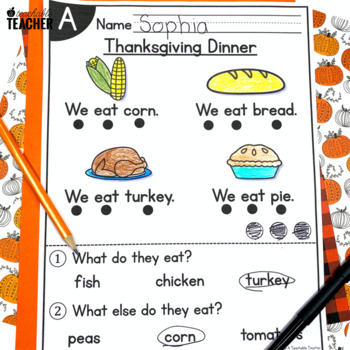 November Kindergarten Guided Reading Passages and Questions Levels A-E