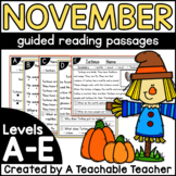 Thanksgiving Emergent Readers for Reading Levels A-E