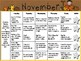 November Kindergarten Homework Calendar *Common Core Aligned*