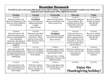 November Kindergarten Homework Calendar (editable)