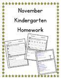 November Kindergarten Homework-Editable-All subjects-Differentiated