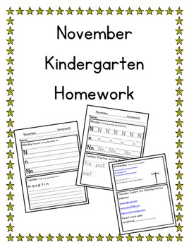 November Kindergarten Homework-Editable-All subjects-Differentiated