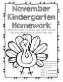 November Kindergarten Homework or Morning Work