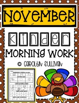 November Kindergarten Literacy Morning Work