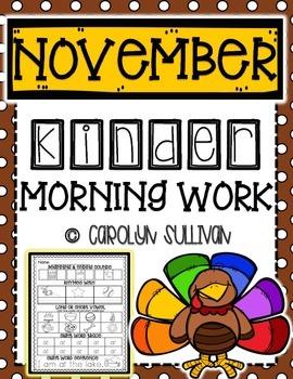 November Kindergarten Literacy Morning Work