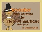 November Kindergarten Math Activities for Interactive Smar
