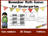 November Kindergarten Math Games