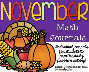 November Kindergarten Math Journal