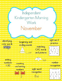 November Kindergarten Morning Work, Daily Math and Literacy Practice