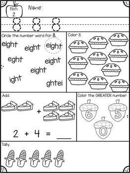 November Kindergarten Morning Work Math & Literacy
