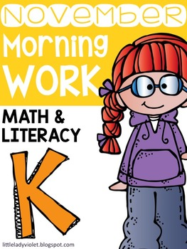 November Kindergarten Morning Work Math & Literacy