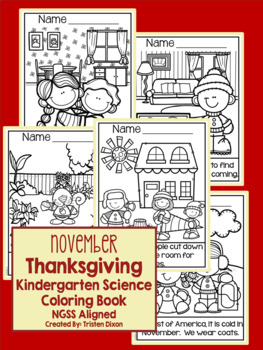 November Kindergarten NGSS Aligned NO PREP Science Coloring Book