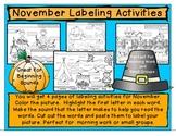 November Labeling Activities/Beginning Sounds Worksheet/Homework