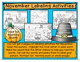 November Labeling Activities/Beginning Sounds Worksheet/Homework