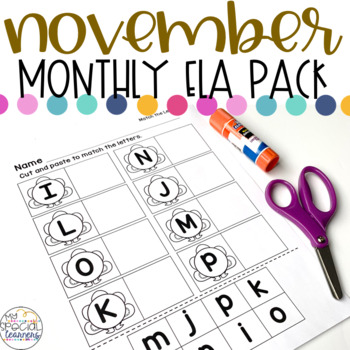 November Language Arts Printables for Special Education
