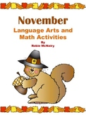 November Language Arts and Math Activities