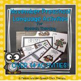 November Language Preschool Speech Therapy Activities